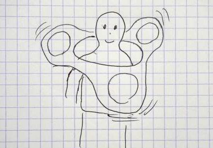 グルグルーとなるイメージ。ハンドスピナーをイラストで描く技術がなかった。