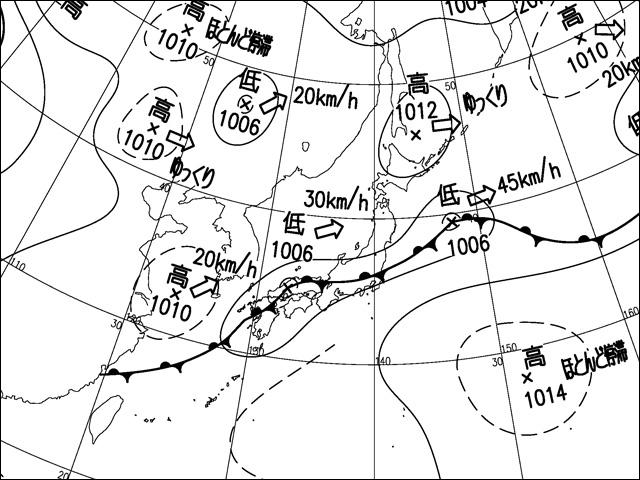 2014年8月16日。気象庁天気図。