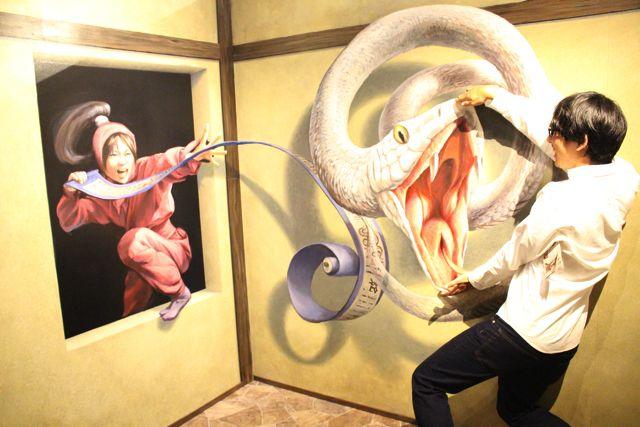 江戸エリアを抜けると、妖怪の絵が描かれたエリアに突入する