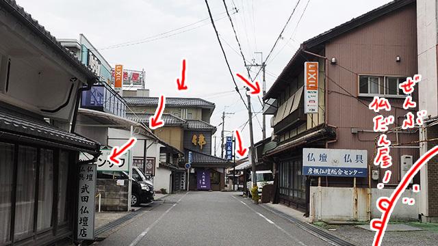全部仏壇屋さんだ! そして、急に曲がり角が現れるのが見どころ。彦根城へ容易にたどり着けないようにしたためだとか。