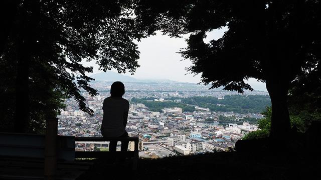木々の間から見下ろす感じ。緑に囲まれた彦根城と奥には琵琶湖が見える。