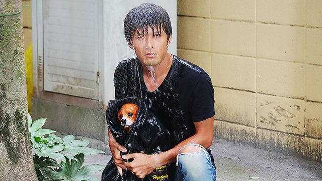 雨に濡れた子犬を革ジャンで抱き...