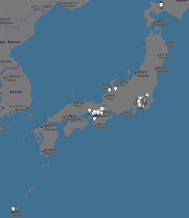 ちなみに北は札幌から南は那覇の物件まで網羅しております((c)OpenStreetMapへの協力者)