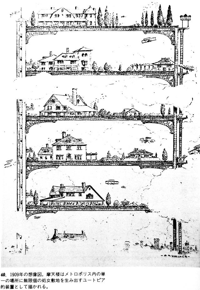 超高層ビルが技術的に可能になり、ニューヨークの摩天楼が計画された時に描かれた、都心に建つタワーの中の住宅の概念図。(レム・コールハースの『錯乱のニューヨーク』より)