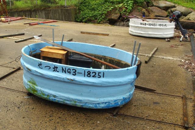 亀屋さんのたらい舟。エンジンを積んで走るため、船舶として登録がしてある。