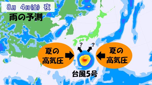 台風5号の進路を左右する東西の高気圧。