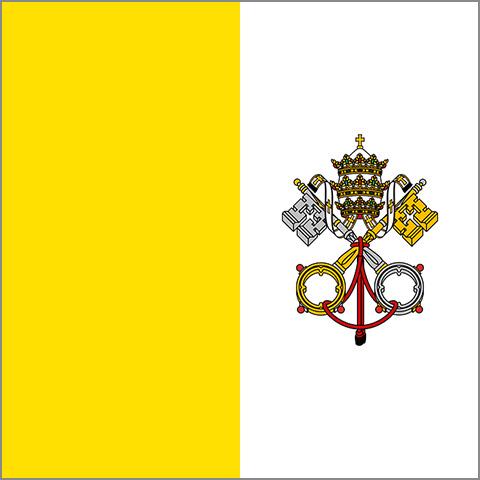 ヴァチカン市国の国旗。黄色と白の美しきツートン。