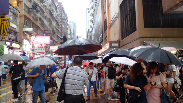 繁華街。派手じゃない傘をさしている人が多い気がする