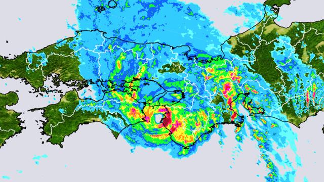 上陸直前の台風5号。眼がはっきり。(雨雲の様子、7日14:50)
