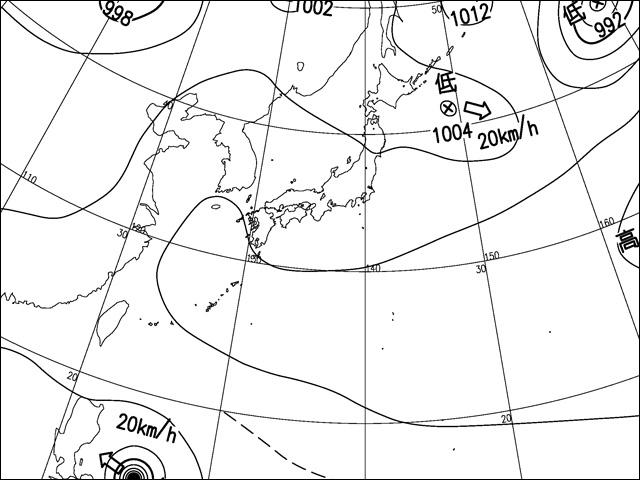 2013年8月11日。気象庁天気図。