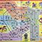 スタンプラリーの台紙に描かれた路線図を鑑賞する