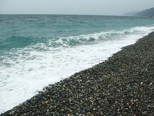 2009年に訪れた富山の海岸。こういう砂利浜に潜んでいるらしい。