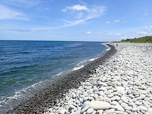 波に濡れて黒くなっているところは、石の粒が小さい!