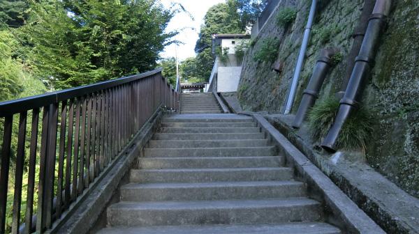 お寺への道が階段。もう嫌だ。
