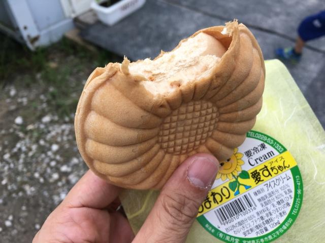 ひまわりの形をしたアイスモナカ。種がアクセントに入ってる。おいしい。