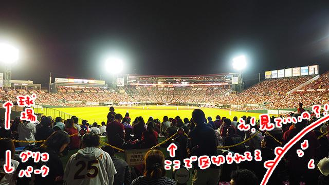 球場の横にあるグリコパークにやってきた。たった500円で入れるのだが、、普通に試合が見える!