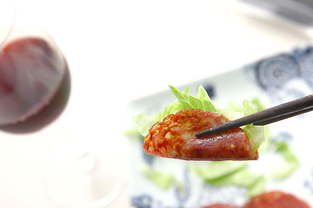 野菜と一緒に食べて赤ワインとか、最高。