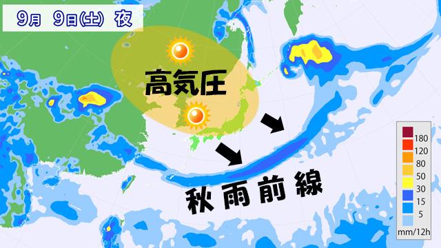 週末の雨の予測。高気圧がきて、秋雨前線の雨雲を押し出す?