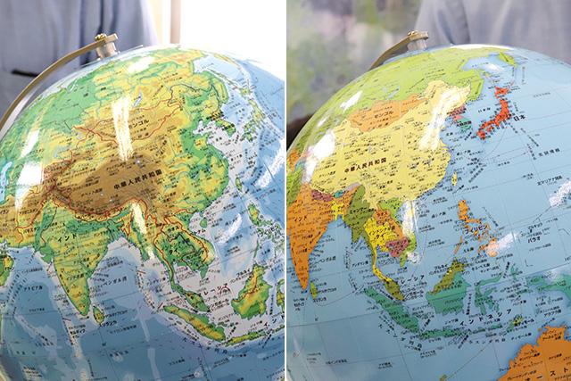左が地勢型、右が行政型。確かに目に入ってくる情報がぜんぜん違う。
