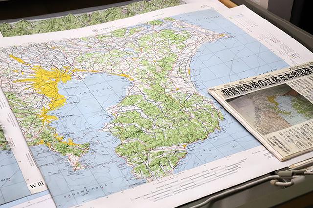 東京周辺の立体地図。GHQ作成。