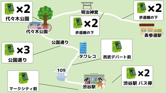 渋谷~原宿の周辺には意外にも電話ボックスは多い