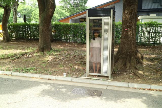 真顔で立っていると宇宙から来た感すらある。電話ボックスが時空を超える装置のようにも見える