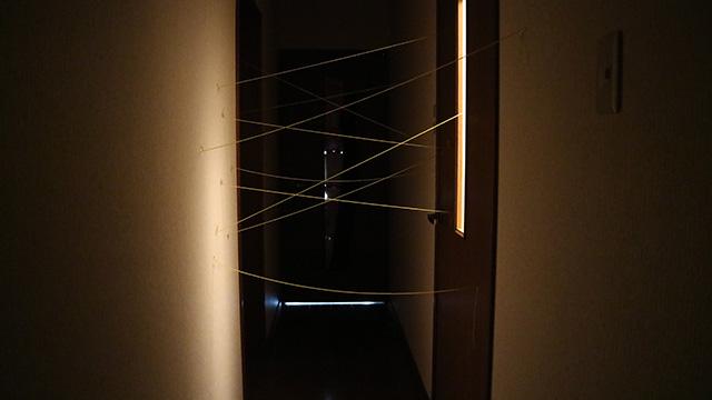 わかってはいたが、自宅の廊下の暗さには毎回驚かされる。午前中の撮影です。