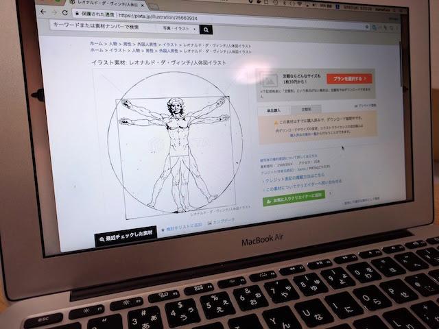 レオナルド・ダ・ヴィンチのウィトルウィウス的人体図だ。
