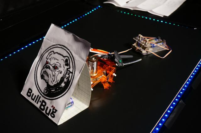 ブルバグ(チームDAI DAI)。ブルドッグ+バグ(タミヤのアクリル昆虫キット)で「ブルバグ」。ただおもりとしてどこにもつながっていない単2電池を4本搭載。意味あんのかなと思いきや、わりと功を奏す。