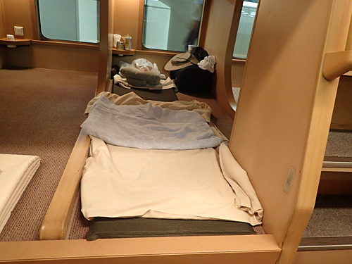 さらにいつも使っているタオルケット(洗濯してきた)とエアー枕で完全装備!