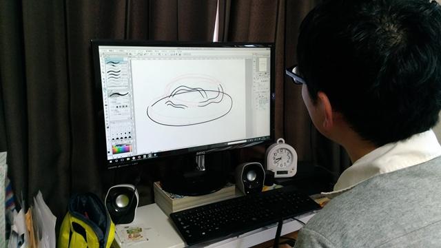 パソコンでスパゲティーの下絵を描きます
