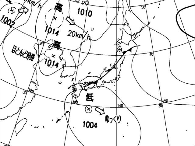 2016年7月24日朝。気象庁天気図。