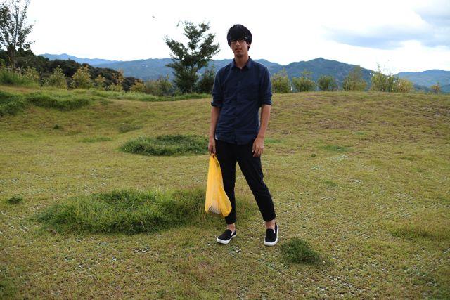 山 × ドンキの袋