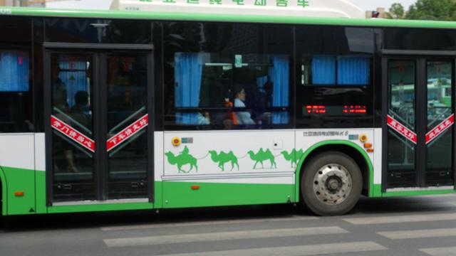 あと、市内を走るバスの柄がシルクロード!