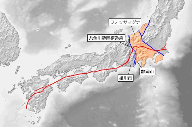 オレンジの部分がフォッサマグナで、フォッサマグナの西側にある青い線が糸魚川静岡構造線