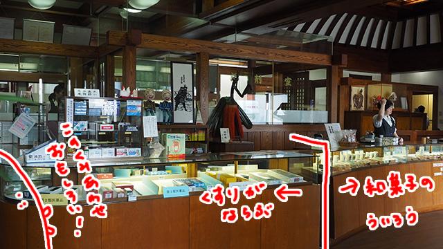 店の右側にお菓子のういろうが並び、左に薬が並んでいる。不思議だ。