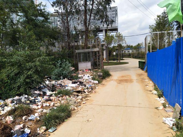 さらに道を進むと舗装された道があるが、ゴミが散乱している。