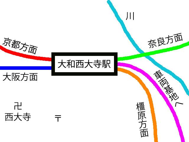 大和西大寺駅の詳細図