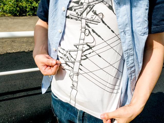 実は一部の電線は絵ではなく紐になってたわんでいるのだ。どうだ。いいだろう。