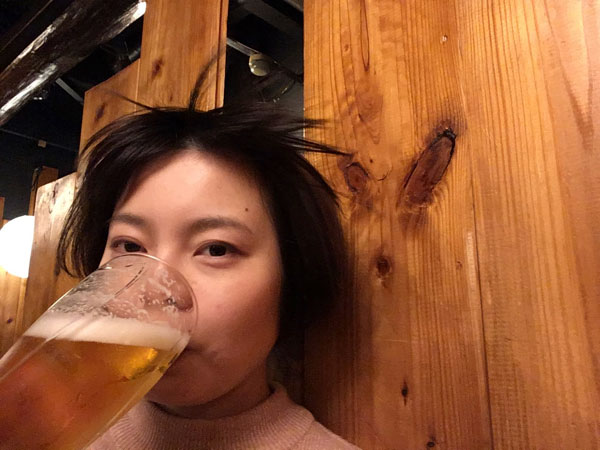 ...and it looks more natural than before. This is a such a curious picture of me drinking beer with the wind blowing.