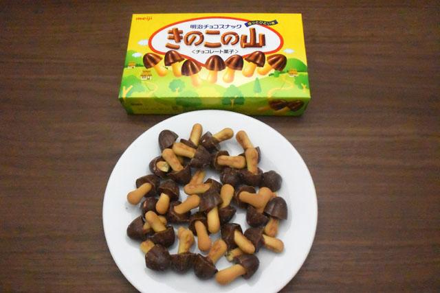 次に、こちらも定番のチョコレート菓子、きのこの山について調べる。