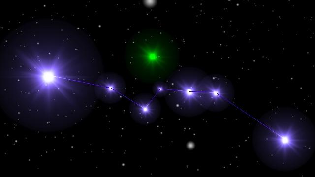 逆に北斗七星から地球を見たところ