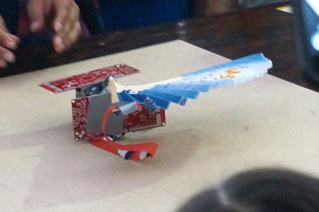 A cyberpunk machine combined of folding fan and circuit board