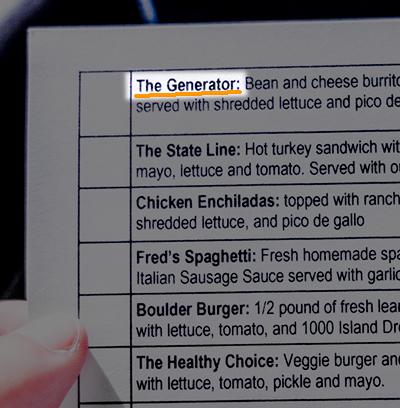 ツアー最中に配られた、昼食のメニュー選択表。一番上の料理の名前が、その名も「ジェネレーター(発電機)」!。