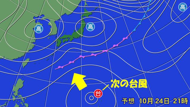 台風21号は画面の外(北)へ去るが、はやくも南海上では次の台風の予想が…。
