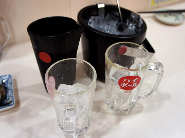 無料のグラス、氷、炭酸水。知らず知らずこれで1000円くらい取られてることあるやつ