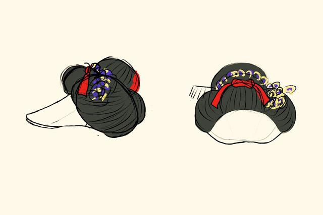 数々の舞妓さんの髪型を見て描いたラフ画。アヒル口の舞妓さん、ではない。