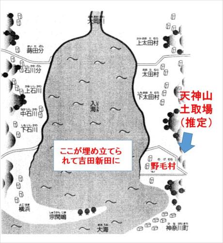 吉田新田開発前図の概念図(『横浜吉田新田と吉田勘兵衛』より)