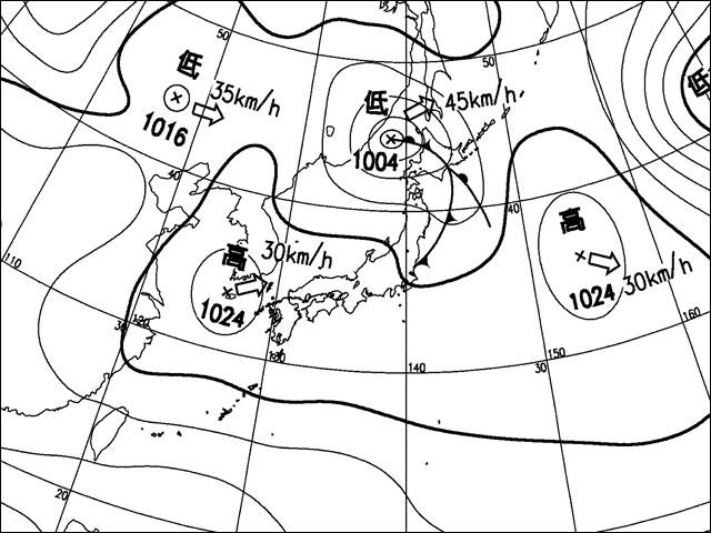 2010年11月12日。気象庁天気図。