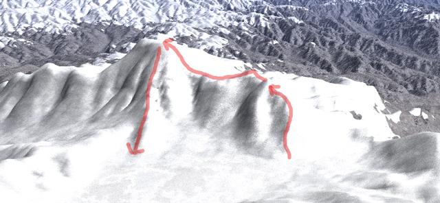 湖畔からの赤城山登山コース。(カシミール3Dで作成)